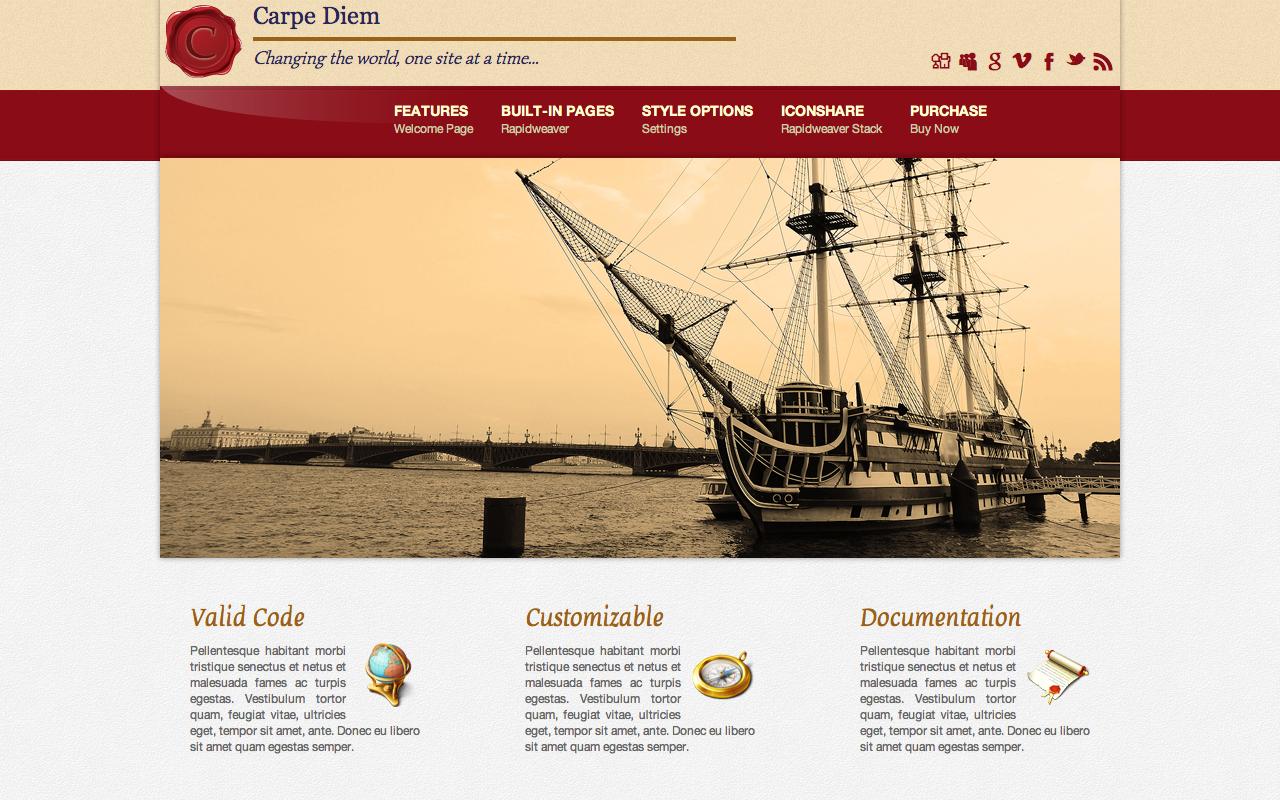Carpe Diem Rapidweaver Theme Screenshot