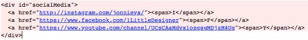 Social Media links HTML
