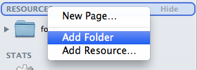 Add Folder in Resources
