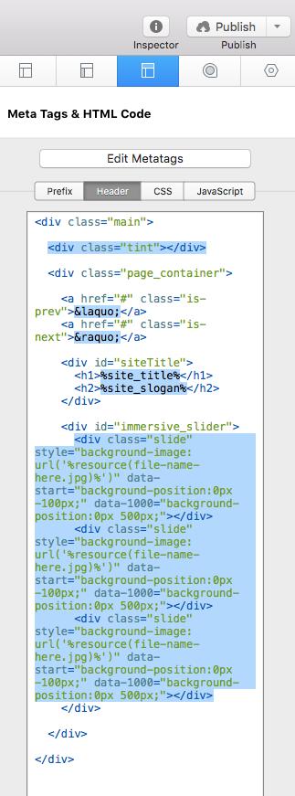 site header snippet