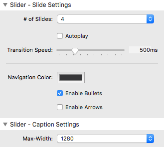 sweep slider settings