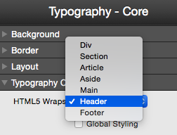 Typography Core Default and HTML Wraps