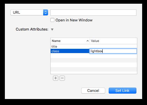 link settings lightbox