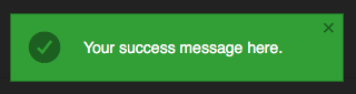 Pop up success message