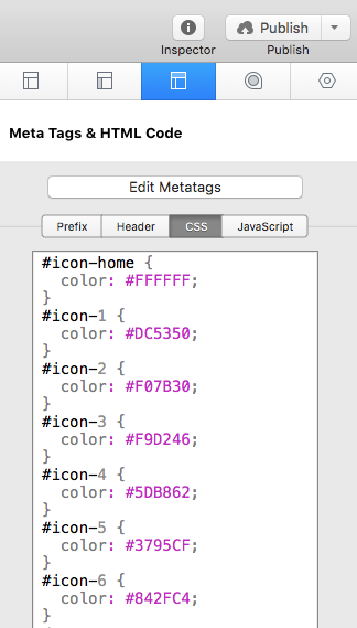 snippet in page inspector
