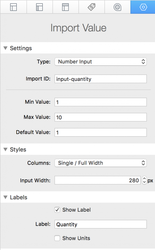 import value settings